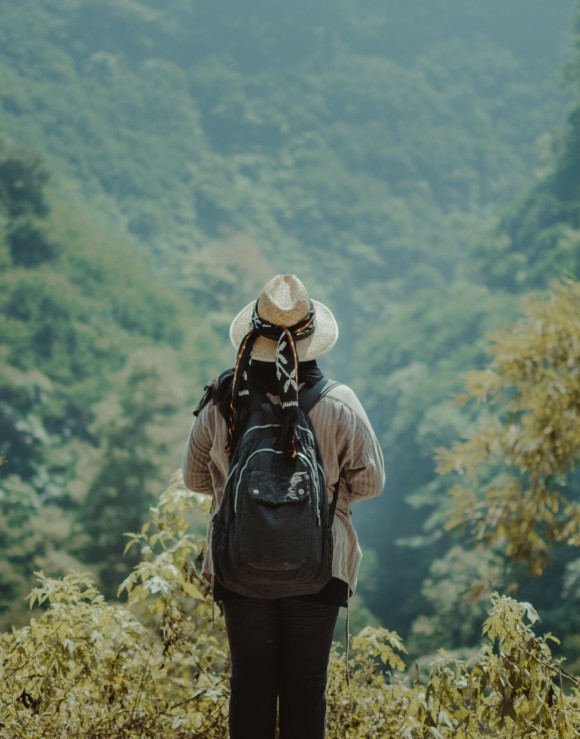 A female standing on a hill looking over the jungle